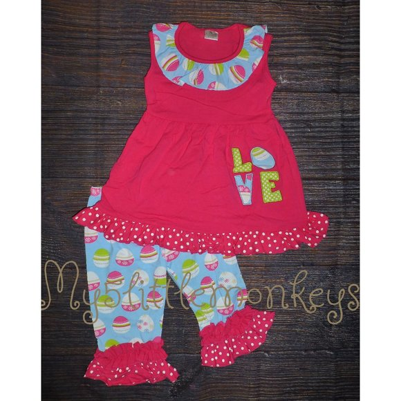 Boutique Easter Love Tunic Dress Girls Outfit Set